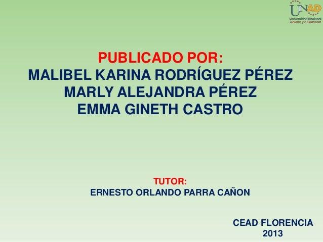 PUBLICADO POR:MALIBEL KARINA RODRÍGUEZ PÉREZMARLY ALEJANDRA PÉREZEMMA GINETH CASTROTUTOR:ERNESTO ORLANDO PARRA CAÑONCEAD F...