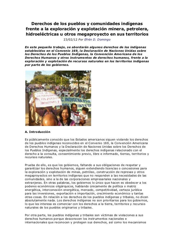 Derechos de los pueblos y comunidades indígenas frente a la exploración y explotación minera