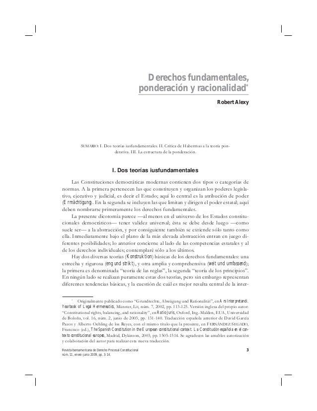 Derechos fundamentales,                                                            ponderación y racionalidad*            ...