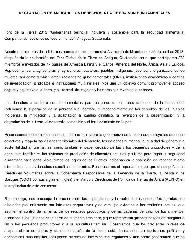 """DECLARACIÓN DE ANTIGUA: LOS DERECHOS A LA TIERRA SON FUNDAMENTALES Foro de la Tierra 2013 """"Gobernanza territorial inclusiv..."""