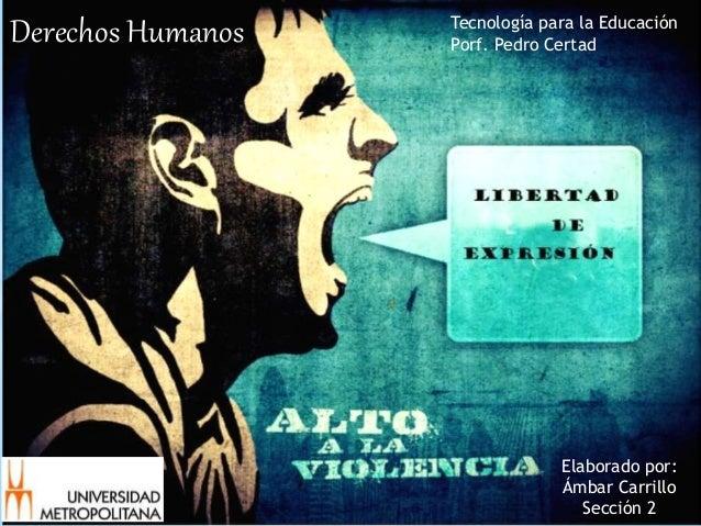Derechos Humanos Tecnología para la Educación Porf. Pedro Certad Elaborado por: Ámbar Carrillo Sección 2
