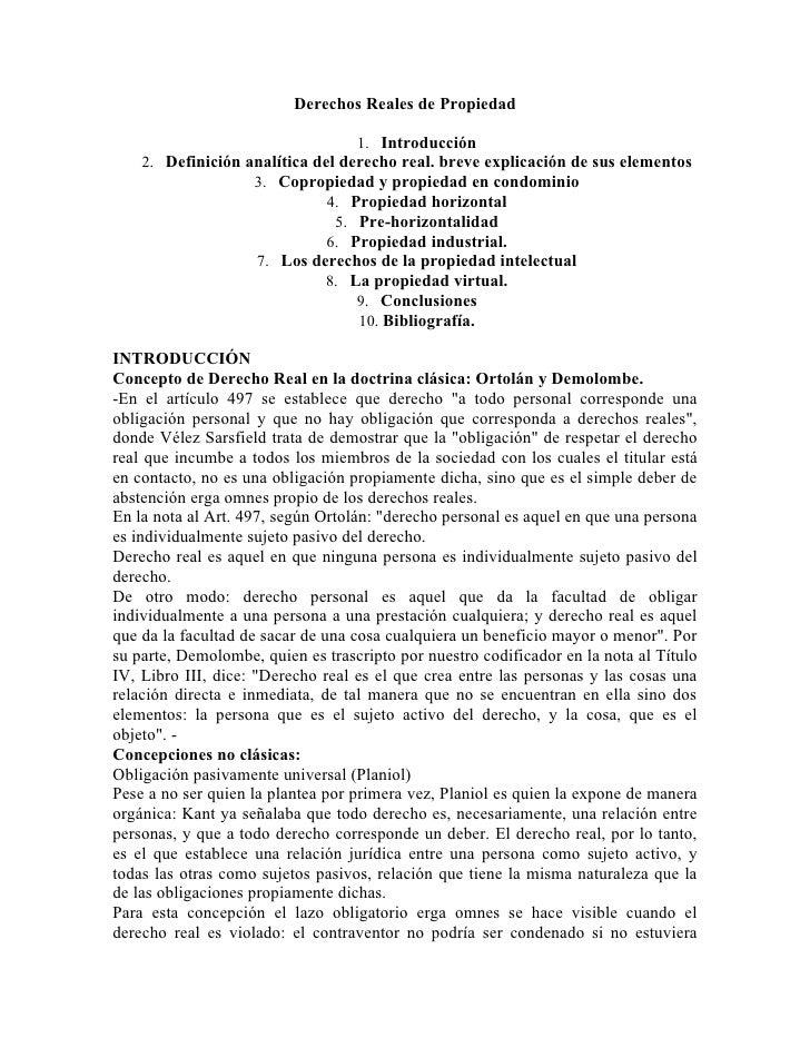Derechos Reales de Propiedad                                  1. Introducción    2. Definición analítica del derecho real....