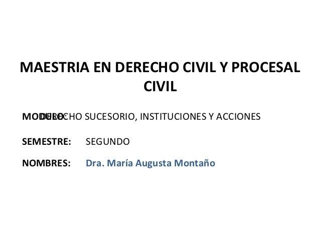 MAESTRIA EN DERECHO CIVIL Y PROCESAL               CIVILMODULO:  DERECHO SUCESORIO, INSTITUCIONES Y ACCIONESSEMESTRE:   SE...