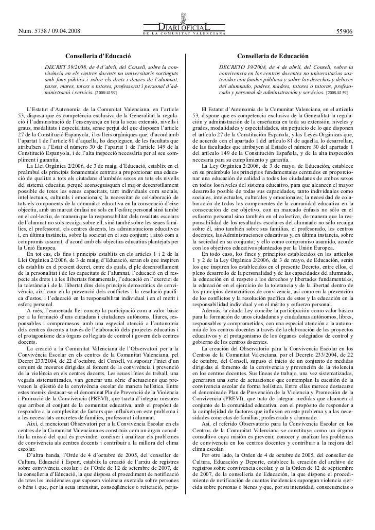 Derechos y deberes. Convivencia (Comunidad Valenciana)