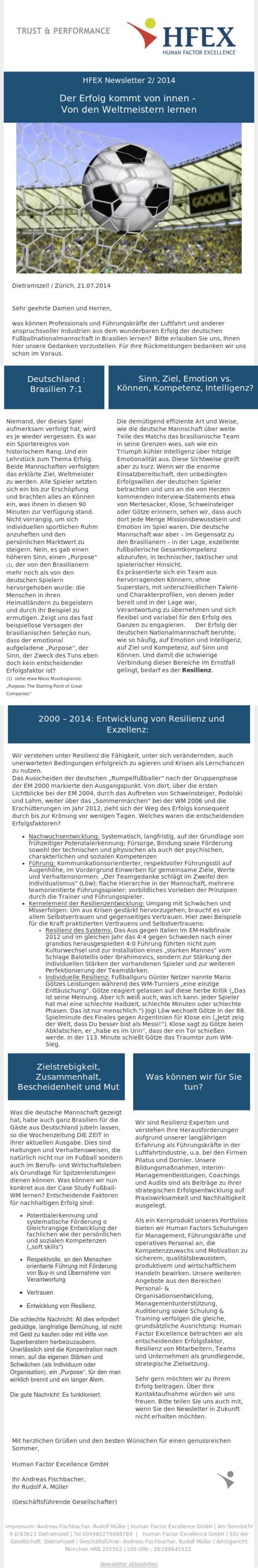 Der Erfolg kommt von Innen - von den Weltmeistern lernen - HFEX Newsletter 2/2014