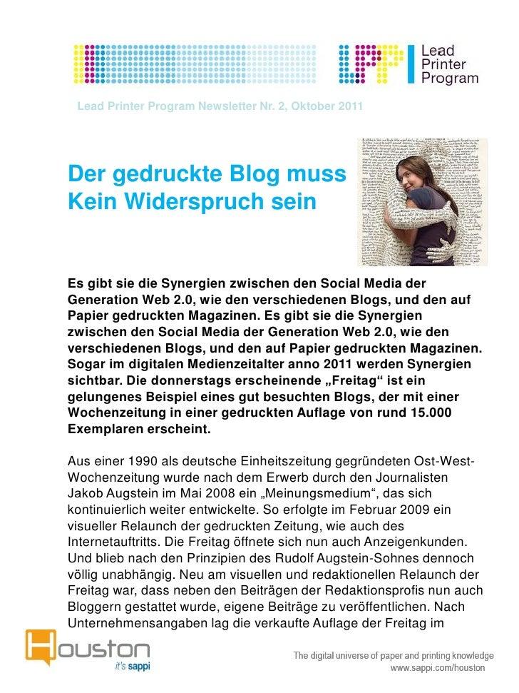 Lead Printer Program Newsletter Nr. 2, Oktober 2011Der gedruckte Blog mussKein Widerspruch seinEs gibt sie die Synergien z...