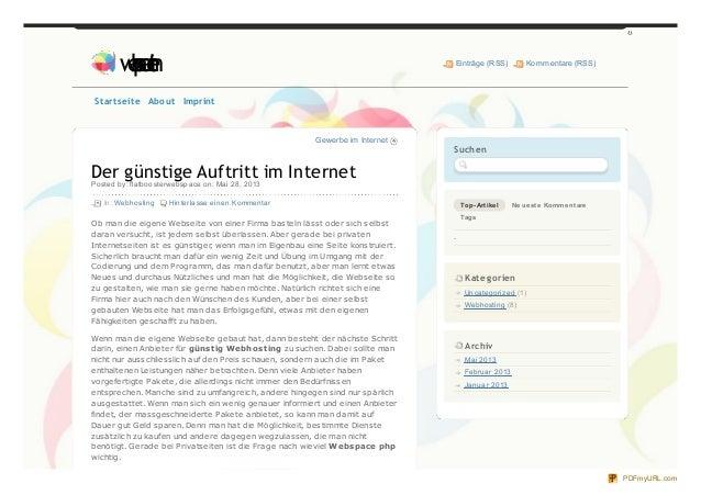 Gewerbe im InternetDer günstige Auftritt im InternetPosted by: flatboosterwebspace on: Mai 28, 2013In: Webhosting Hinterla...