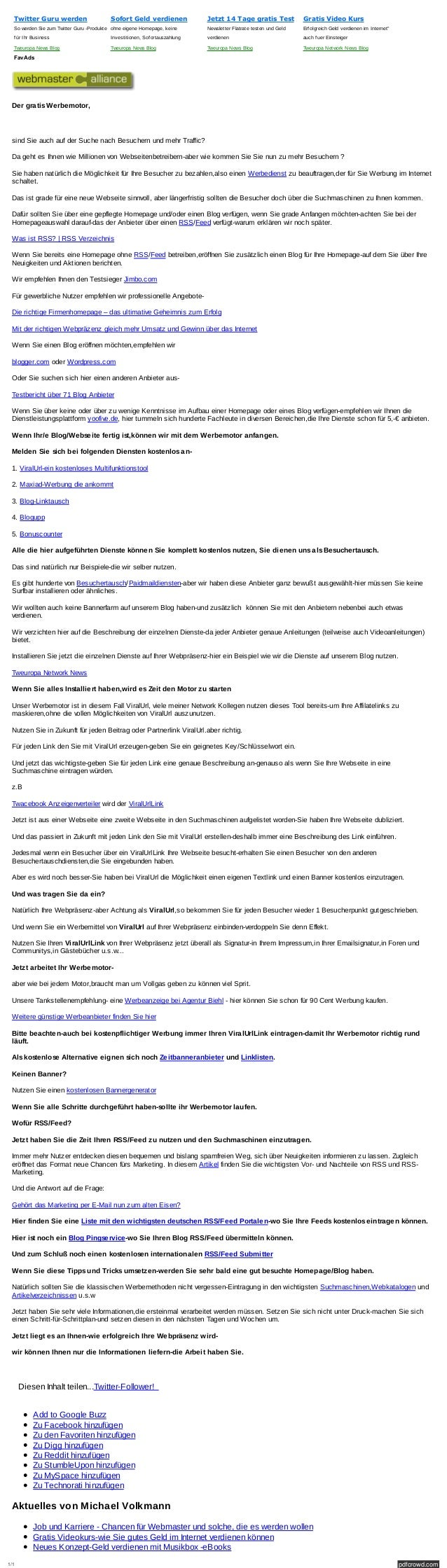 1/1 pdfcrowd.com Twitter Guru werden SowerdenSiezumTwitterGuru-Produkte f ürIhrBusiness TweuropaNewsBlog Sofort ...