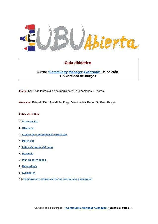 Guía didáctica del curso #CommunityManager avanzado UBU (feb2014)