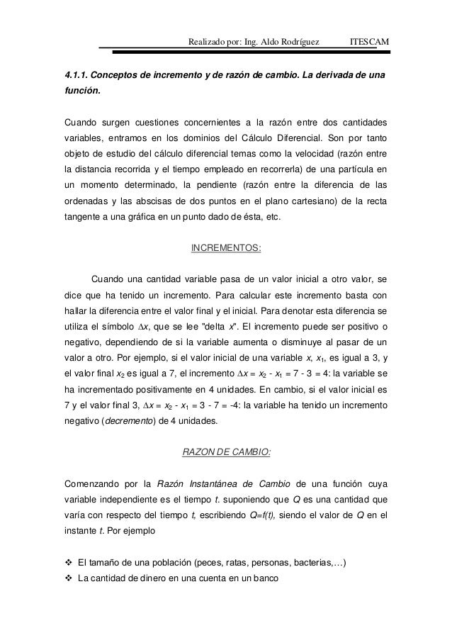 4.1.1. Conceptos de incremento y de razón de cambio. La derivada de una función. Cuando surgen cuestiones concernientes a ...