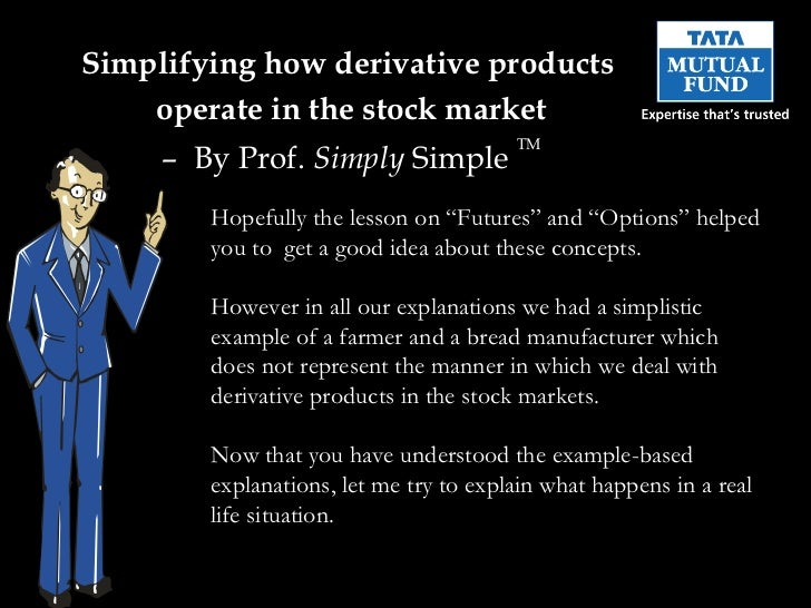 Simplifying  how derivative products  operate in the stock market –  By Prof.  Simply  Simple  TM Hopefully the lesson on ...