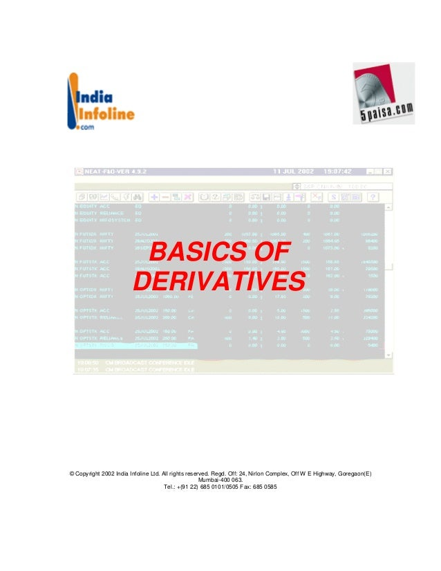 BASICS OF                       DERIVATIVES© Copyright 2002 India Infoline Ltd. All rights reserved. Regd. Off: 24, Nirlon...