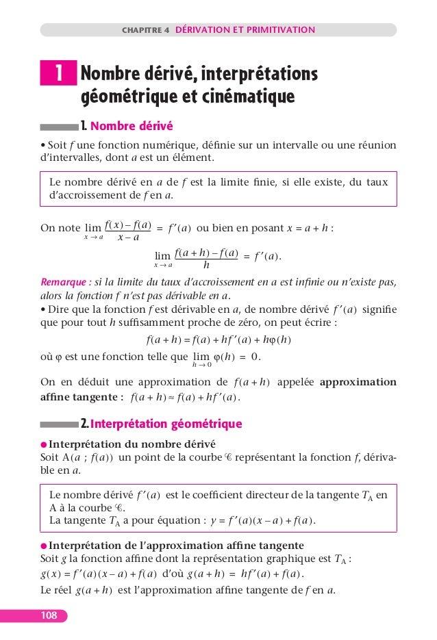 CHAPITRE 4 DÉRIVATION ET PRIMITIVATION108Nombre dérivé, interprétationsgéométrique et cinématique1. Nombre dérivé• Soit f ...