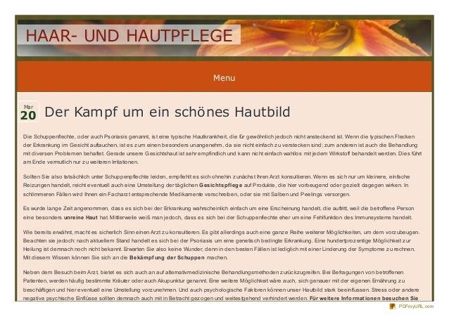 HAAR- UND HAUTPFLEGE                                                                              Menu20 Der Kampf um ein ...