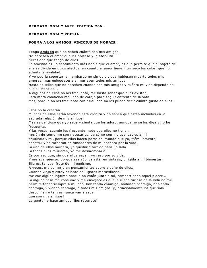 DERMATOLOGIA Y ARTE. EDICION 266.<br />DERMATOLOGIA Y POESIA. <br />POEMA A LOS AMIGOS. VINICIUS DE MORAIS.<br />Tengo ami...