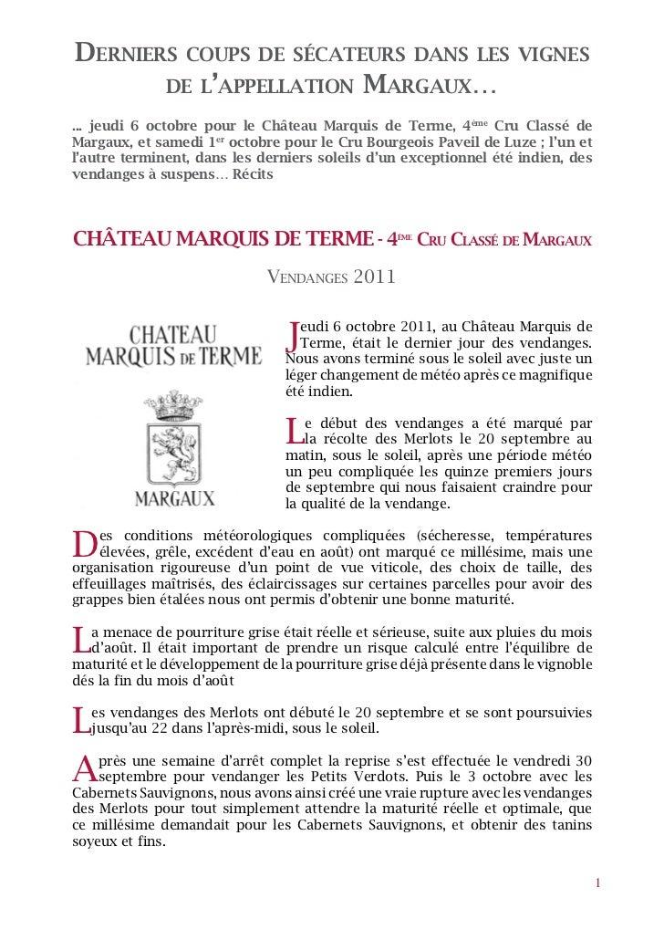 Derniers         coups De sécateurs Dans les vignes              De l'appellation               Margaux…... jeudi 6 octobr...