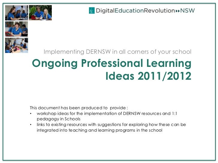 DERNSW Professional Learning Ideas, 2012/11