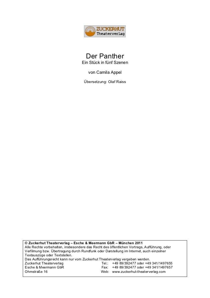 Der Panther                                   Ein Stück in fünf Szenen                                       von Camila Ap...