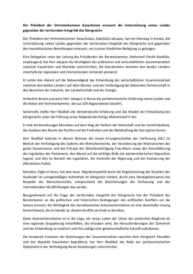Der präsident der vertreterkammer kasachstans erneuert die unterstützung seines landes gegenüber der territorialen integrität des königreichs