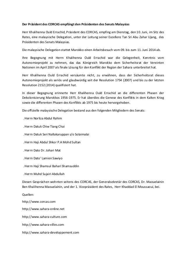 Der Präsident des CORCAS empfängt den Präsidenten des Senats Malaysias Herr Khalihenna Ould Errachid, Präsident des CORCAS...