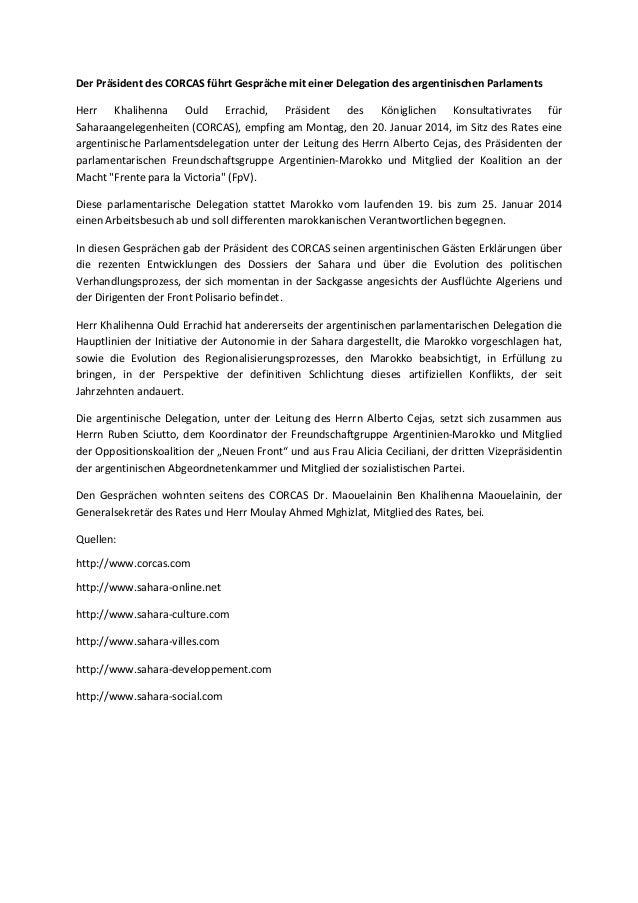 Der Präsident des CORCAS führt Gespräche mit einer Delegation des argentinischen Parlaments Herr Khalihenna Ould Errachid,...