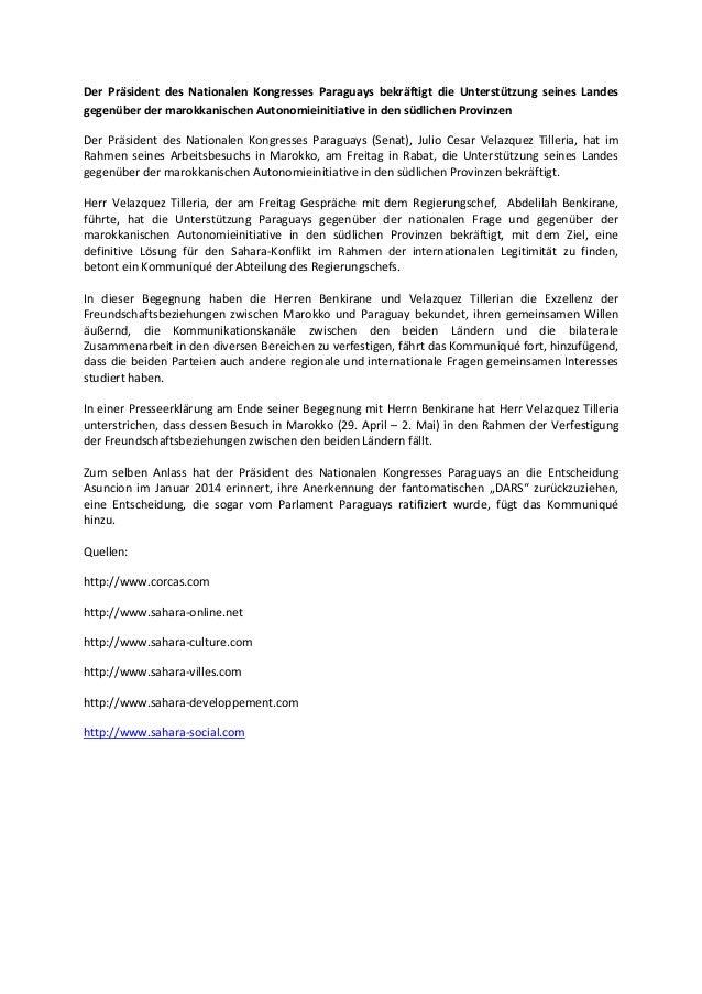 Der präsident des nationalen kongresses paraguays bekräftigt die unterstützung seines landes gegenüber der marokkanischen autonomieinitiative in den südlichen provinzen