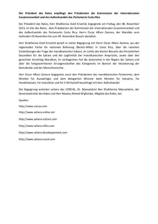 Der präsident des rates empfängt den präsidenten der kommission der internationalen zusammenarbeit und des außenhandels des parlaments costa rica