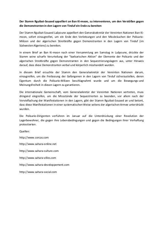 Der Stamm Rguibat-Souaed appelliert an Ban Ki-moon, zu intervenieren, um den Verstößen gegen die Demonstranten in den Lage...