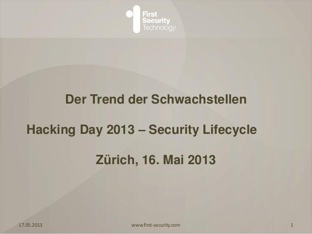 Der Trend der SchwachstellenHacking Day 2013 – Security LifecycleZürich, 16. Mai 201317.05.2013 www.first-security.com 1