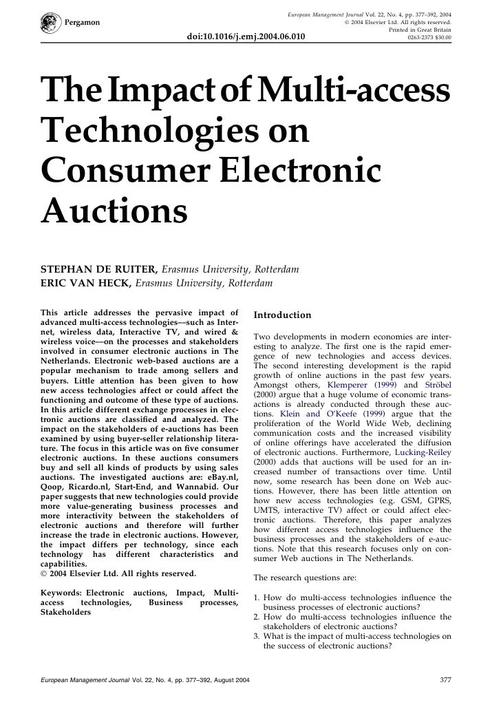 The Impact of Multi-access Technologies on Consumer Electronic Auctions