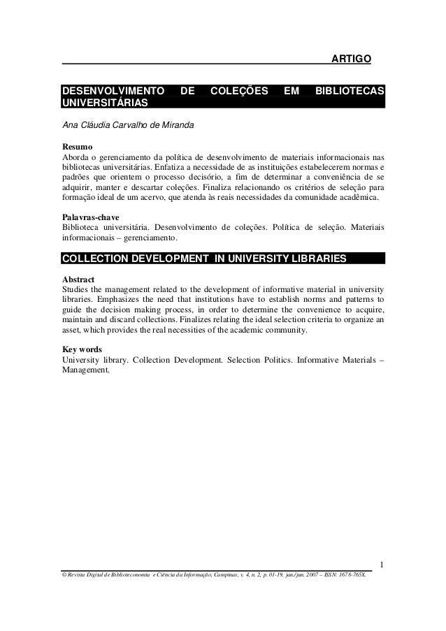 ARTIGO © Revista Digital de Biblioteconomia e Ciência da Informação, Campinas, v. 4, n. 2, p. 01-19, jan./jun. 2007 – ISSN...