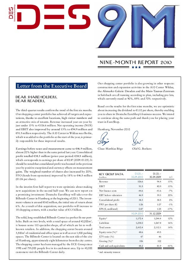N i n e-m onth Report 2010 Letter from the Executive Board Dear Shareholders, Dear Readers, The third-quarter results conf...