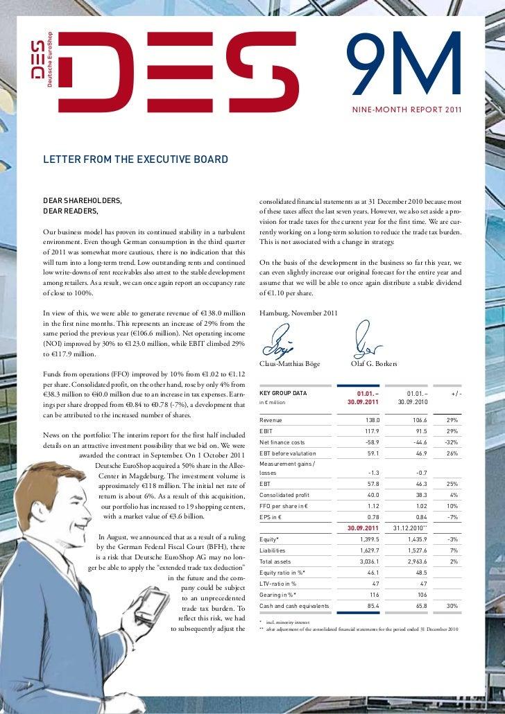 9M  N i n e - m o n t h r e p o rt 2 0 1 1Letter from the Executive BoardDear Shareholders,                            ...