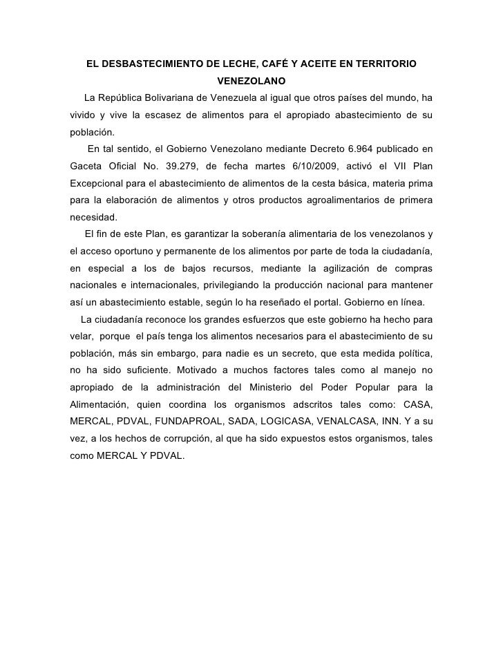 EL DESBASTECIMIENTO DE LECHE, CAFÉ Y ACEITE EN TERRITORIO VENEZOLANO