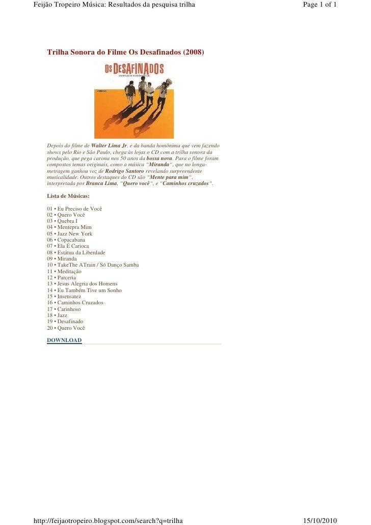 Feijão Tropeiro Música: Resultados da pesquisa trilha                         Page 1 of 1         Trilha Sonora do Filme O...