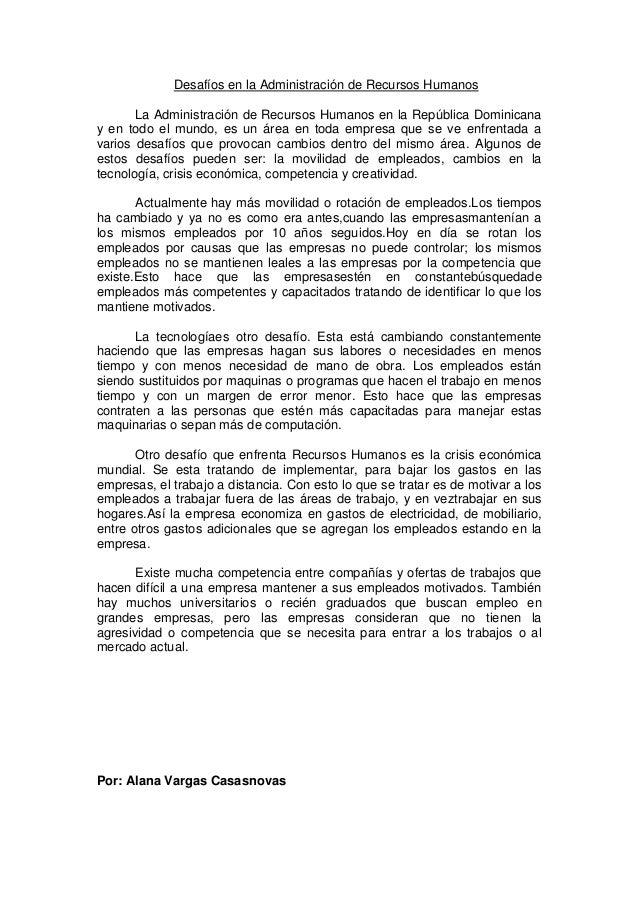 Desafíos en la Administración de Recursos Humanos       La Administración de Recursos Humanos en la República Dominicanay ...