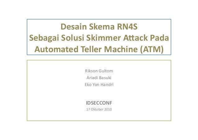 Desain  Skema  RN4S   Sebagai  Solusi  Skimmer  A5ack  Pada   Automated  Teller  Machine  (ATM)   ...