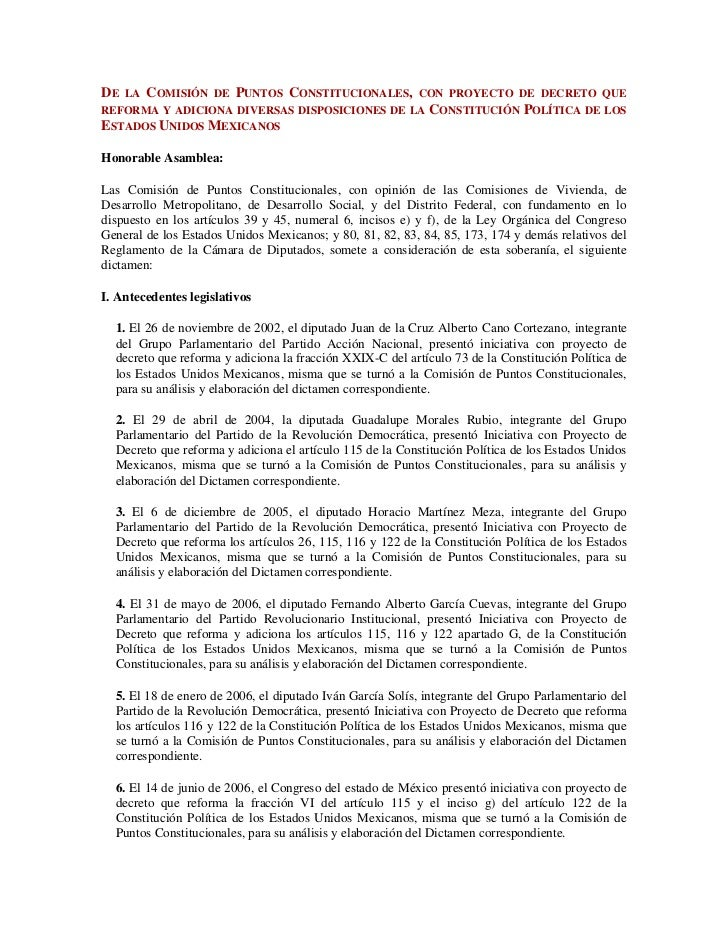 De la Comisión de Puntos Constitucionales, con proyecto de decreto que reforma y adiciona diversas disposiciones de la Con...