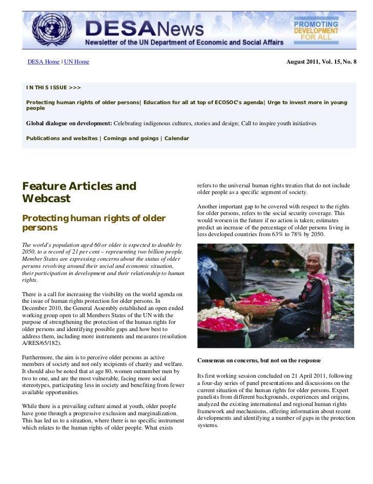 UN DESA Newsletter, August 2011