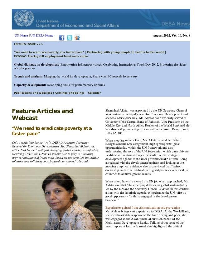 DESA News, August 2012