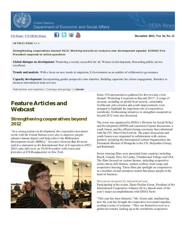DESA News, December 2012