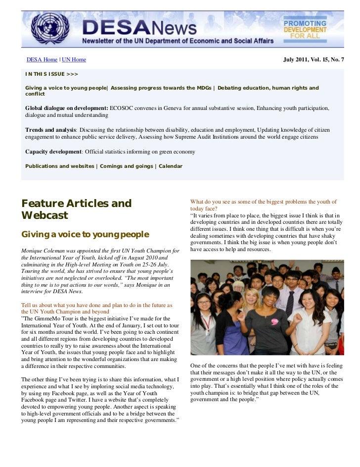 UN DESA Newsletter, July 2011