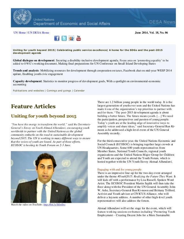 DESA News, June 2014