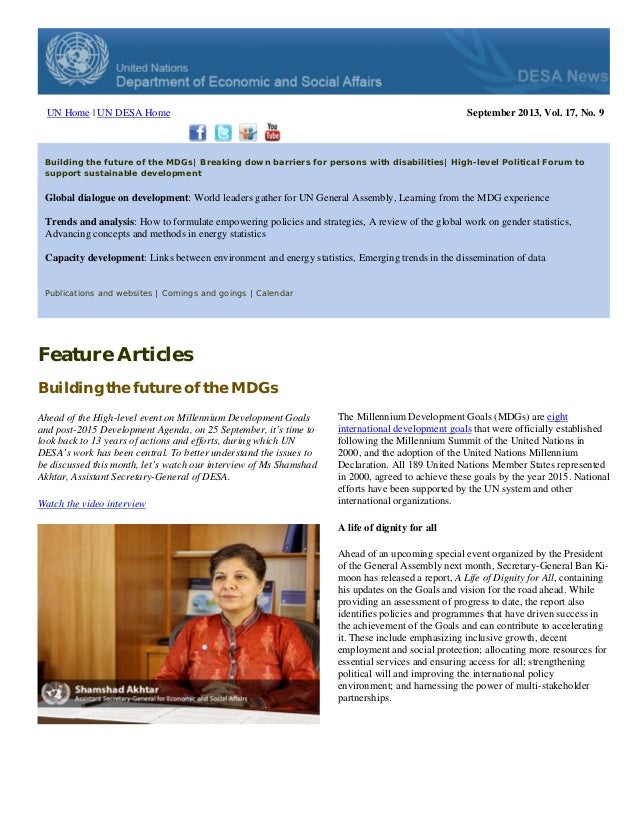 UN Home | UN DESA Home  September 2013, Vol. 17, No. 9  Building the future of the MDGs| Breaking down barriers for person...