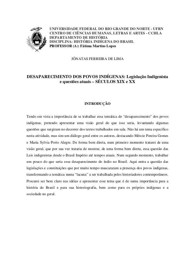 UNIVERSIDADE FEDERAL DO RIO GRANDE DO NORTE - UFRN CENTRO DE CIÊNCIAS HUMANAS, LETRAS E ARTES - CCHLA DEPARTAMENTO DE HIST...