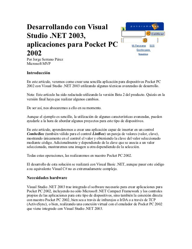 Desarrollando con VisualStudio .NET 2003,                                                                        Calificar...