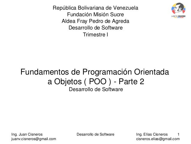 Desarrollo de Software fundamentos POO 2da Parte subido JHS