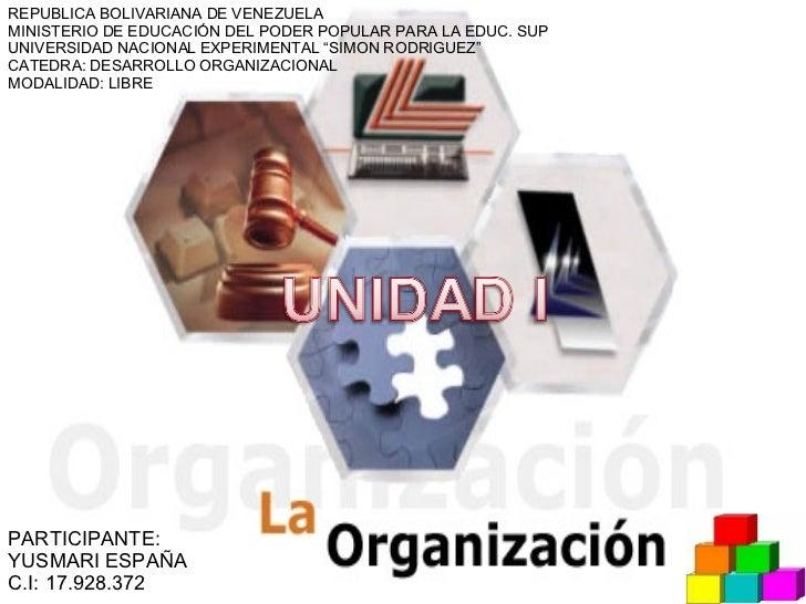REPUBLICA BOLIVARIANA DE VENEZUELA MINISTERIO DE EDUCACIÓN DEL PODER POPULAR PARA LA EDUC. SUP UNIVERSIDAD NACIONAL EXPERI...