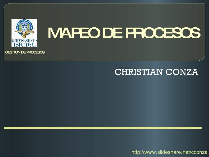 MAPEO DE PROCESOS CHRISTIAN CONZA GESTION DE PROCESOS http://www.slideshare.net/cconza