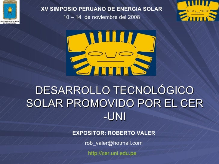 Desarrollo TecnolÓgico Solar Promovido Por El Cer  Uni